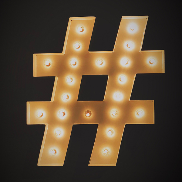 Hashtag with Lights 600 x 600